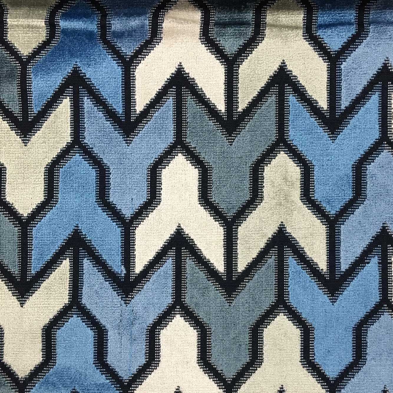 Upholstery fabric geometric design fabric home decor aqua blue -  Rocket Geometric Pattern Cut Velvet Upholstery Fabric By The Yard Available In 14 Colors