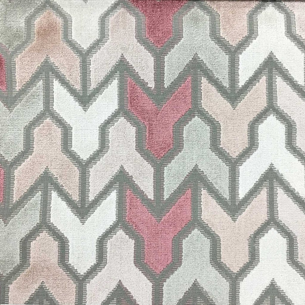 Rocket - Geometric Pattern Cut Velvet Upholstery Fabric by the Yard - Available in 14 Colors - Rosequartz - Top Fabric - 3