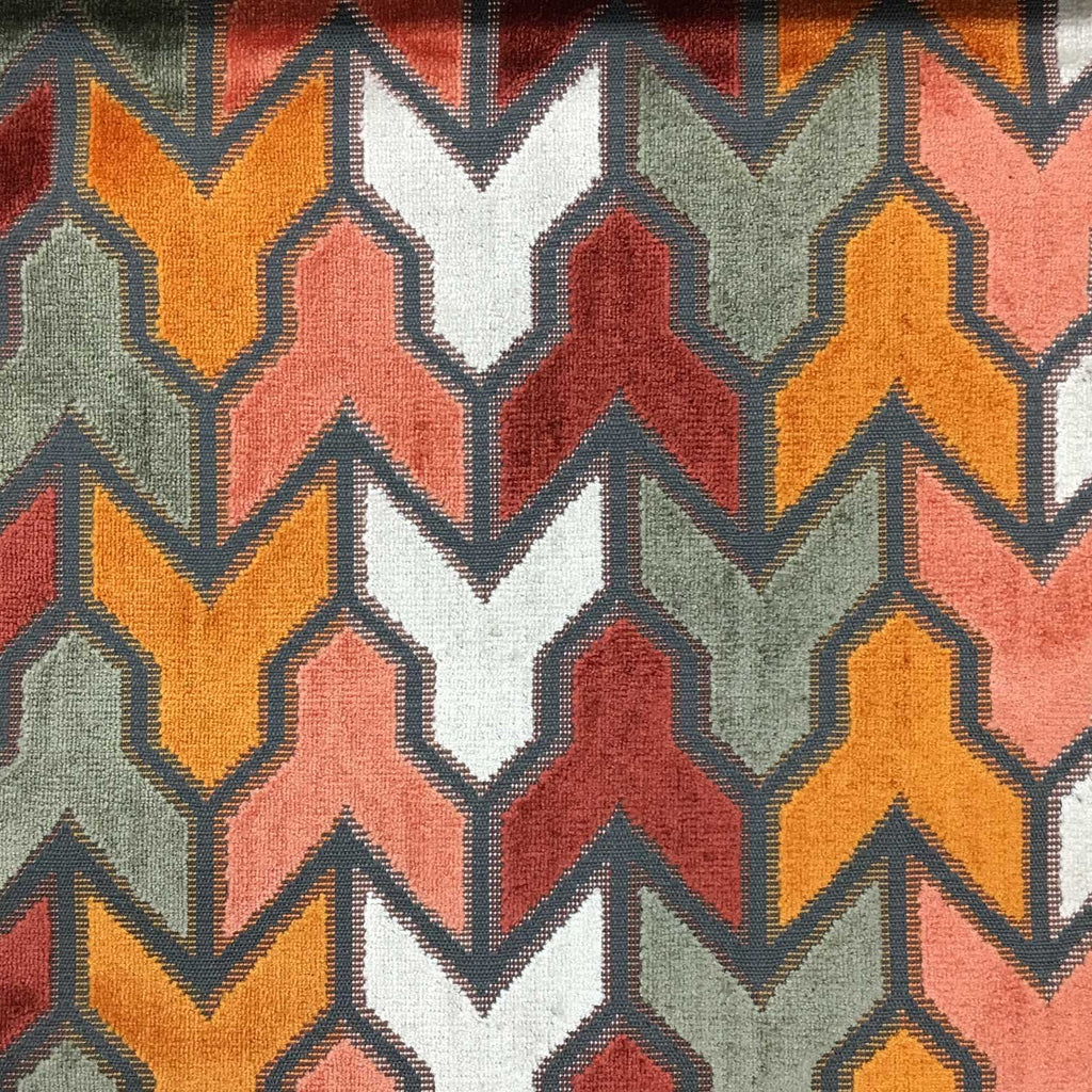 Rocket - Geometric Pattern Cut Velvet Upholstery Fabric by the Yard - Available in 14 Colors - Sunset - Top Fabric - 5