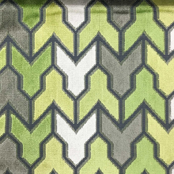 Rocket - Geometric Pattern Cut Velvet Upholstery Fabric by the Yard - Available in 14 Colors - Wheatgrass - Top Fabric - 9