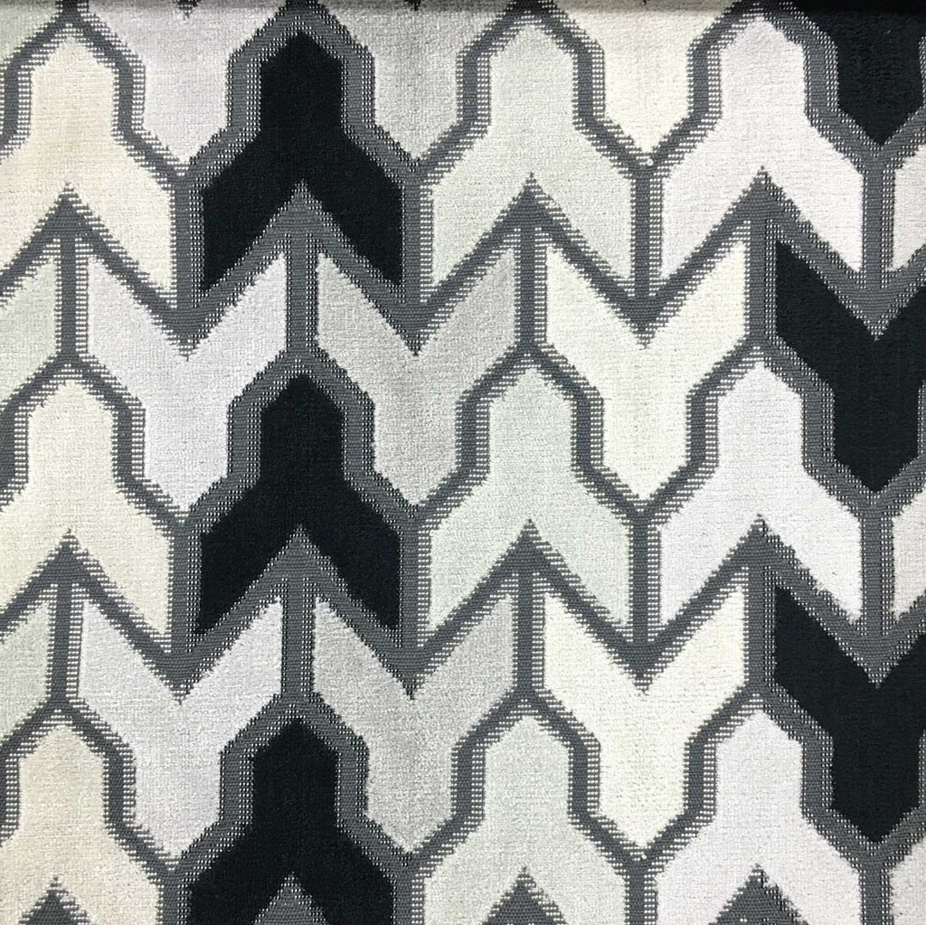 Rocket - Geometric Pattern Cut Velvet Upholstery Fabric by the Yard - Available in 14 Colors - Zinc - Top Fabric - 14