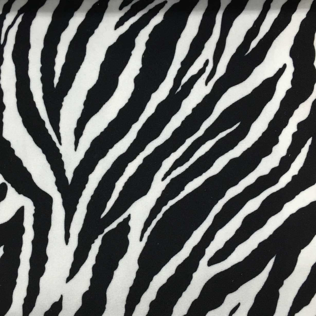 Safari - Baby Zebra - Short Pile Velvet Fabric Drapery, Pillow, & Upholstery Fabric by the Yard - Available in 2 Colors - Black / With Backing - Top Fabric - 1
