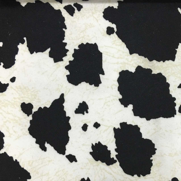 Safari - Cow - Short Pile Velvet Fabric Drapery, Pillow, & Upholstery Fabric by the Yard - Available in 2 Colors - Black / With Backing - Top Fabric - 1