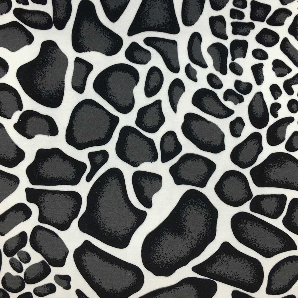 Safari - Giraffe - Short Pile Velvet Fabric Drapery, Pillow, & Upholstery Fabric by the Yard - Available in 2 Colors - Black / With Backing - Top Fabric - 1