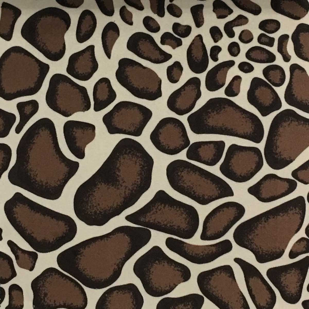 Safari - Giraffe - Short Pile Velvet Fabric Drapery, Pillow, & Upholstery Fabric by the Yard - Available in 2 Colors - Brown / With Backing - Top Fabric - 2
