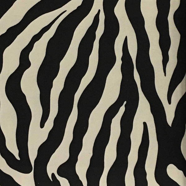 Safari - Zebra - Short Pile Velvet Fabric Drapery, Pillow, & Upholstery Fabric by the Yard - Available in 2 Colors - Black / With Backing - Top Fabric - 1
