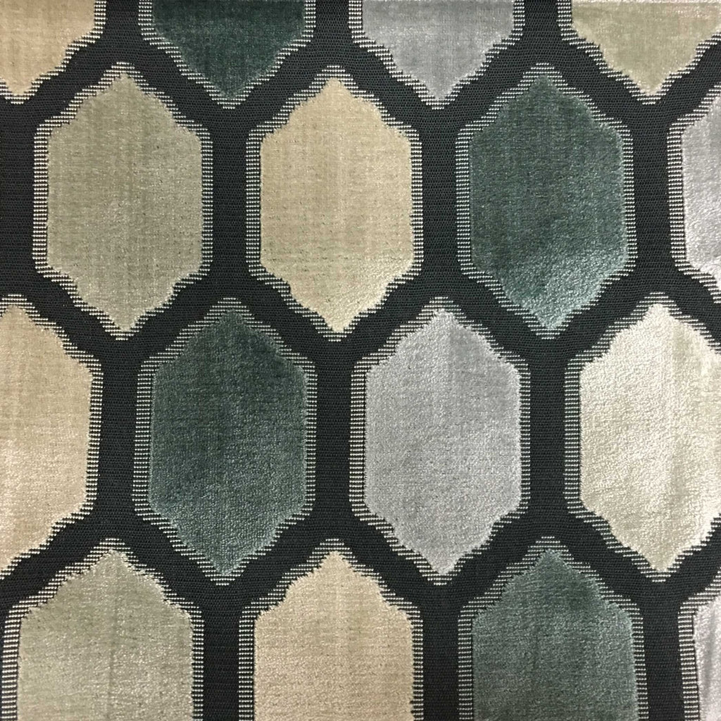 Seymour - Honeycomb Cut Velvet Fabric Drapery & Upholstery Fabric by the Yard - Available in 13 Colors - Carrara - Top Fabric - 12
