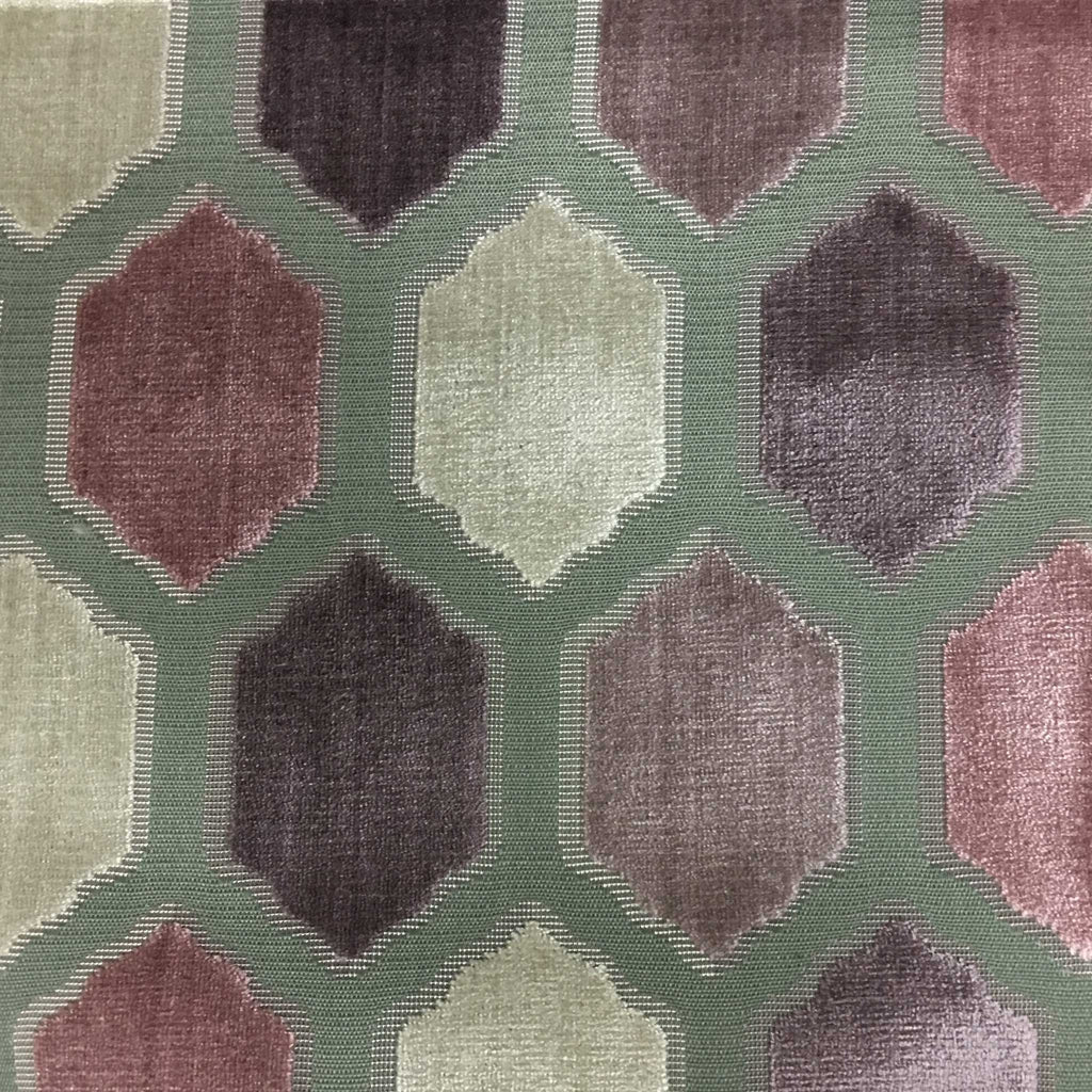 Seymour - Honeycomb Cut Velvet Fabric Drapery & Upholstery Fabric by the Yard - Available in 13 Colors - Mulberry - Top Fabric - 2