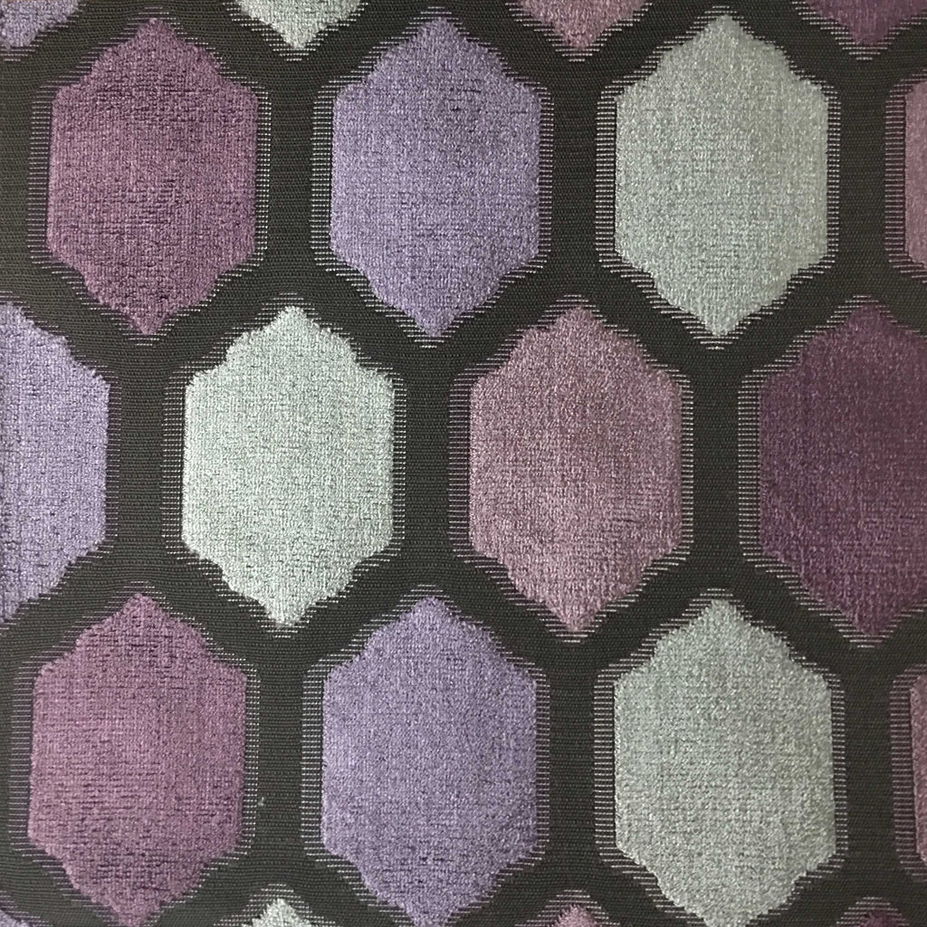 Seymour - Honeycomb Cut Velvet Fabric Drapery & Upholstery Fabric by the Yard - Available in 13 Colors - Fig - Top Fabric - 5