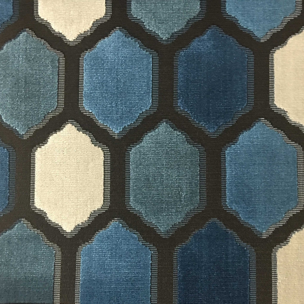 Seymour - Honeycomb Cut Velvet Fabric Drapery & Upholstery Fabric by the Yard - Available in 13 Colors - Indigo - Top Fabric - 11