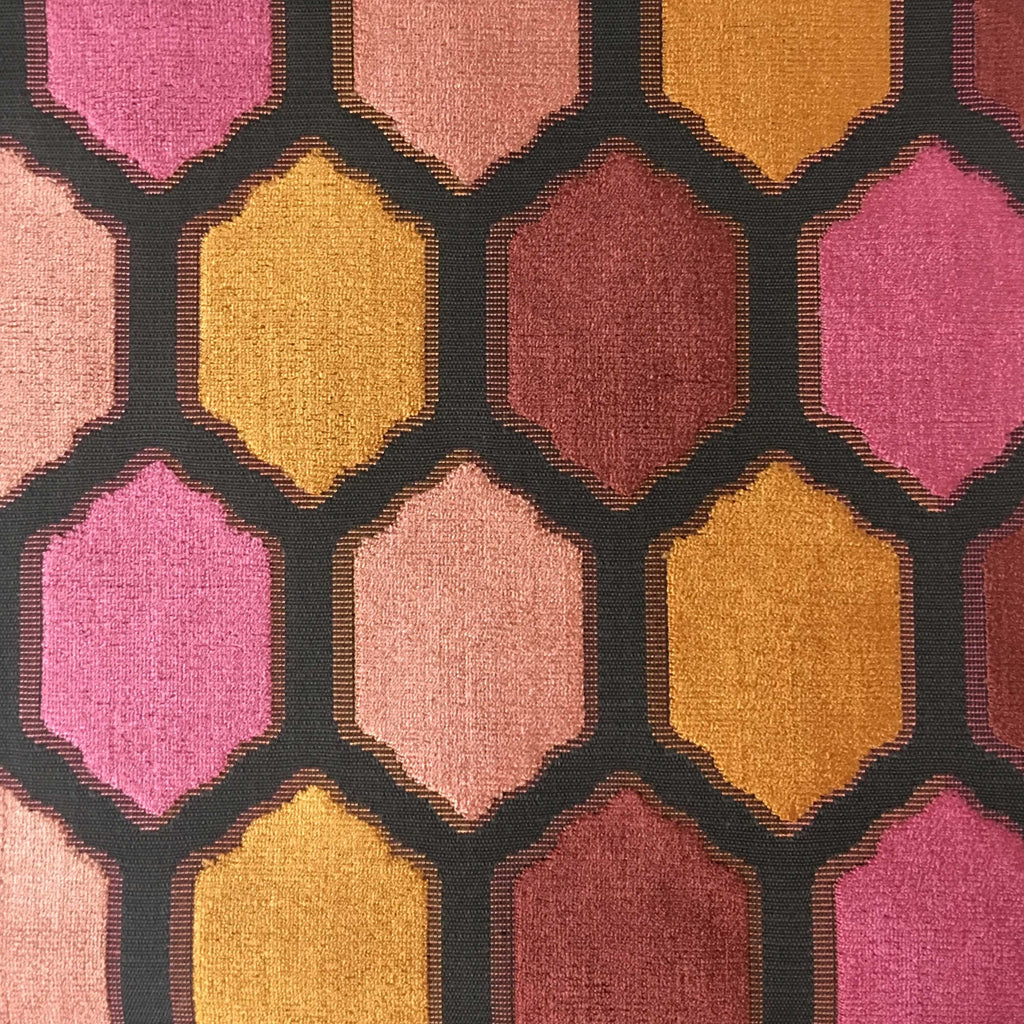 Seymour - Honeycomb Cut Velvet Fabric Drapery & Upholstery Fabric by the Yard - Available in 13 Colors - Sunset - Top Fabric - 6