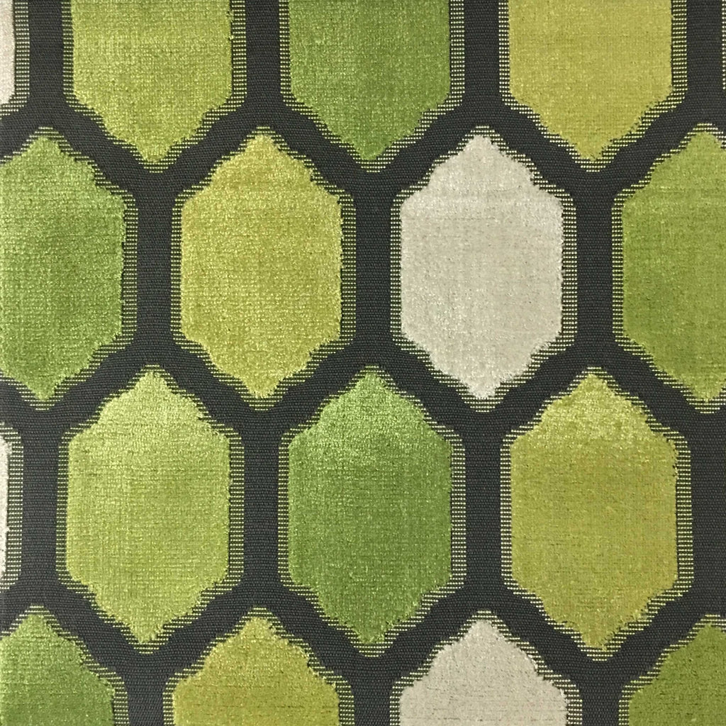Seymour - Honeycomb Cut Velvet Fabric Drapery & Upholstery Fabric by the Yard - Available in 13 Colors - Wheatgrass - Top Fabric - 7
