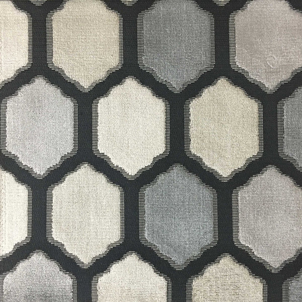 Seymour - Honeycomb Cut Velvet Fabric Drapery & Upholstery Fabric by the Yard - Available in 13 Colors - Zinc - Top Fabric - 1