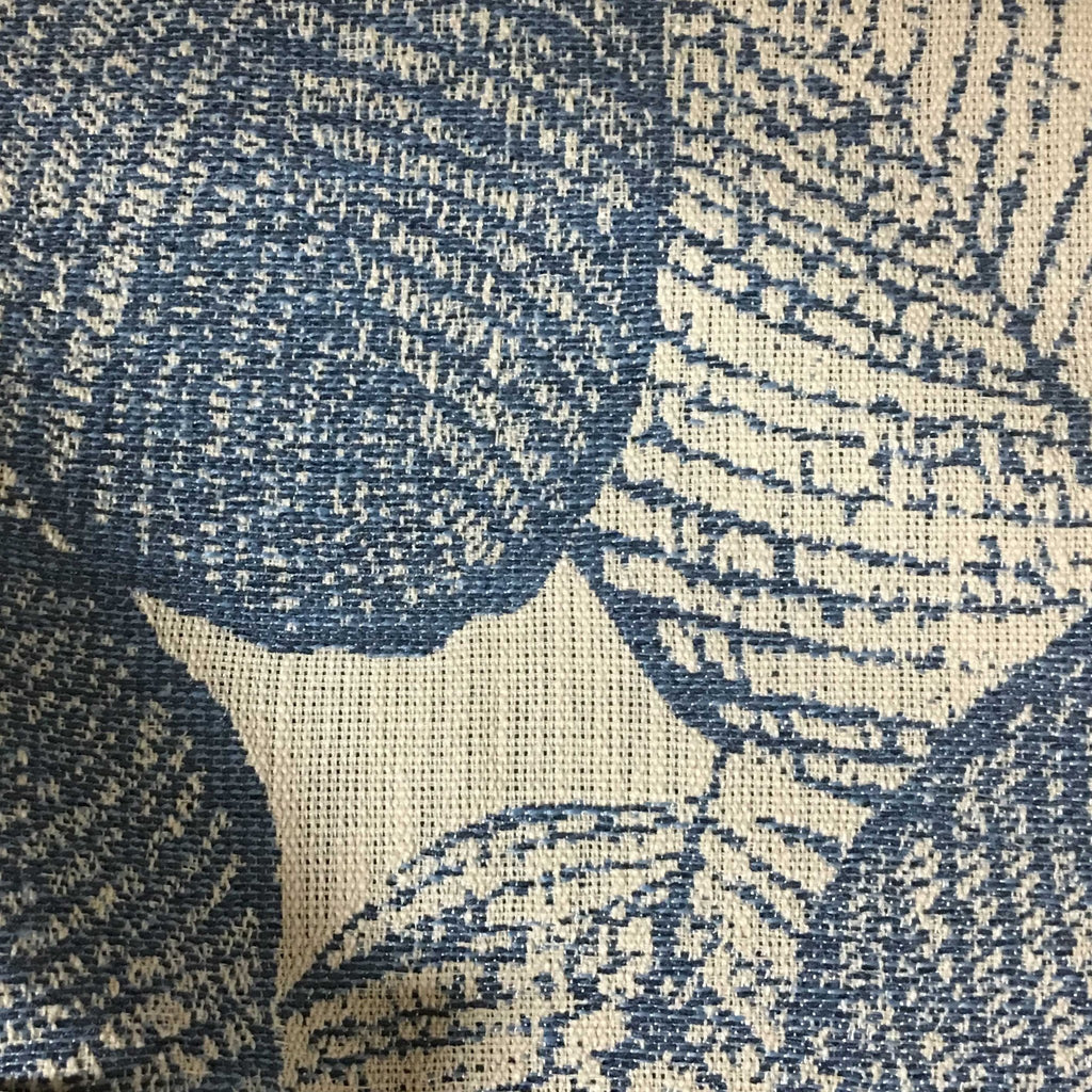 Shade - Tropical Pattern Woven Texture Upholstery & Drapery Fabric by the Yard - Available in 6 Colors - Indigo - Top Fabric - 4