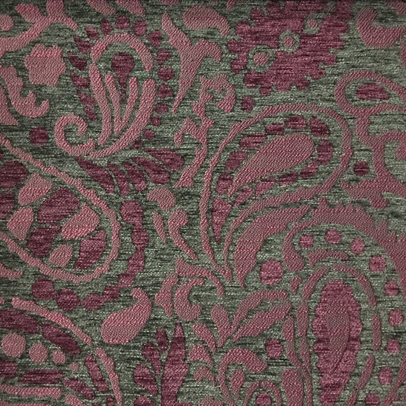 Luxurious Heavyweight Floral Soft Chenille Velvet In Purple Upholstery Fabric