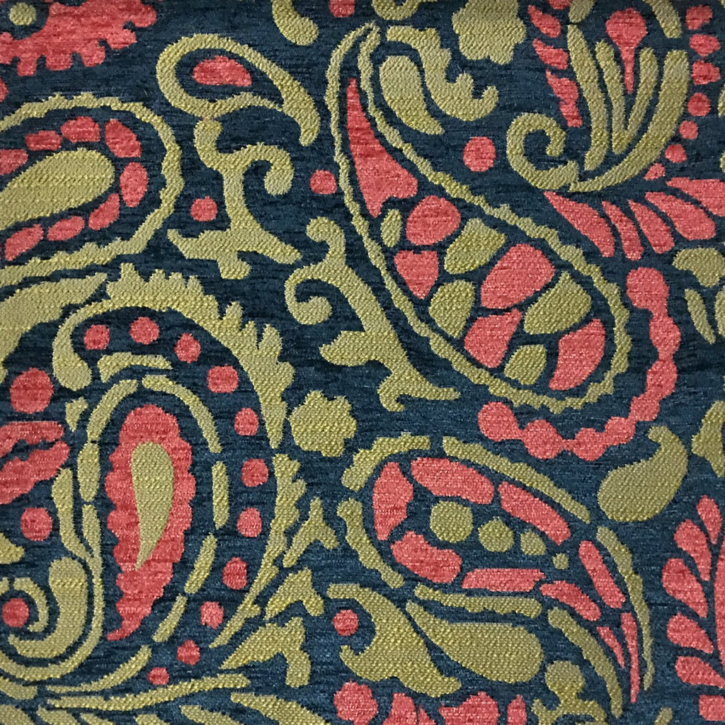 Sydney - Modern Paisley Textured Chenille Upholstery Fabric by the Yard - Available in 8 Colors - Cosmo - Top Fabric - 2