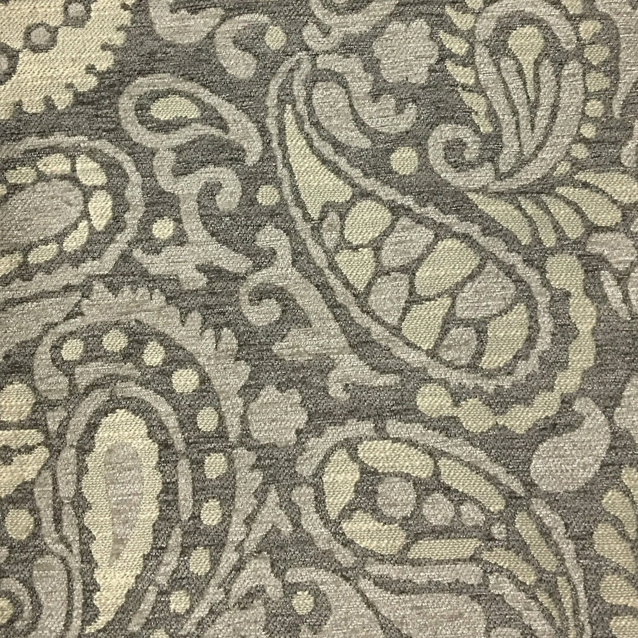 Sydney Modern Paisley Pattern Chenille Upholstery Fabric By The Yard