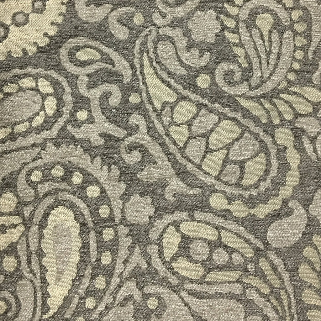 Sydney - Modern Paisley Textured Chenille Upholstery Fabric by the Yard - Available in 8 Colors - Driftwood - Top Fabric - 3