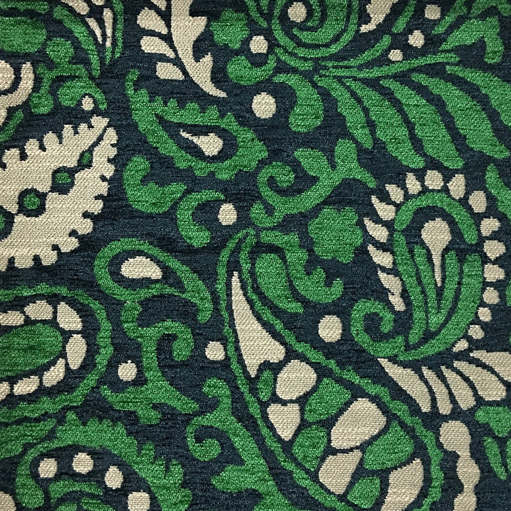 Sydney - Modern Paisley Textured Chenille Upholstery Fabric by the Yard - Available in 8 Colors - Emerald - Top Fabric - 5