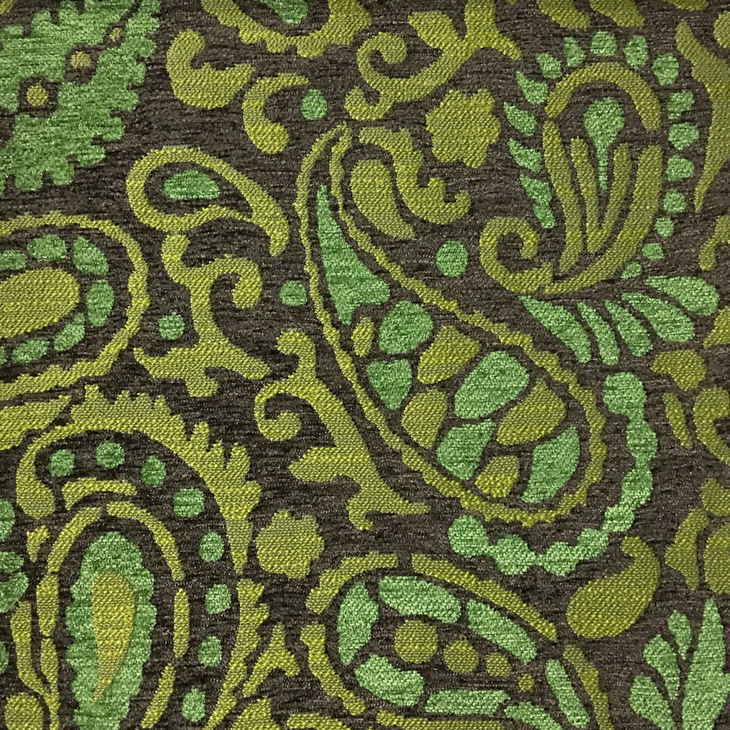 Sydney - Modern Paisley Textured Chenille Upholstery Fabric by the Yard - Available in 8 Colors - Grass - Top Fabric - 6