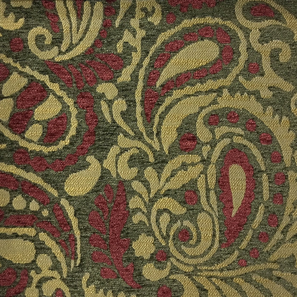 Sydney - Modern Paisley Textured Chenille Upholstery Fabric by the Yard - Available in 8 Colors - Henna - Top Fabric - 8