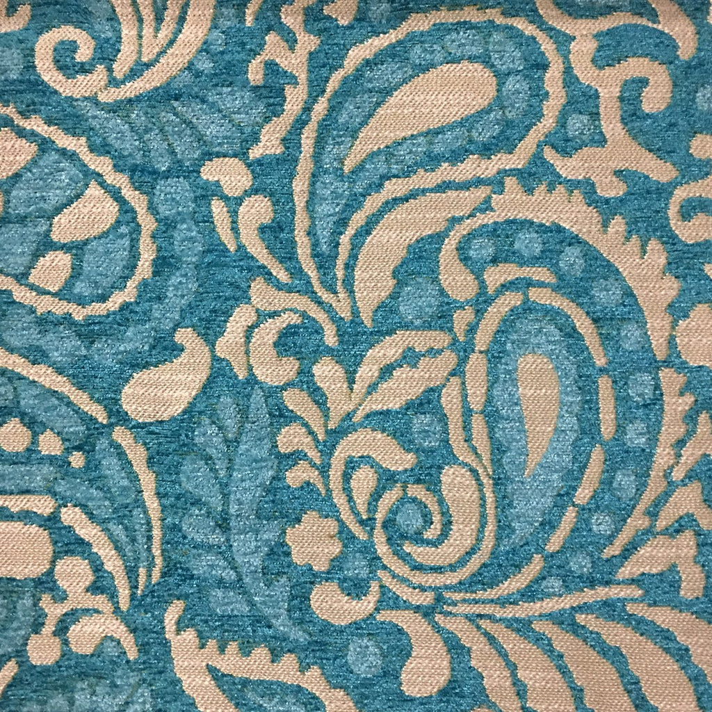 Sydney - Modern Paisley Textured Chenille Upholstery Fabric by the Yard - Available in 8 Colors - Laguna - Top Fabric - 7