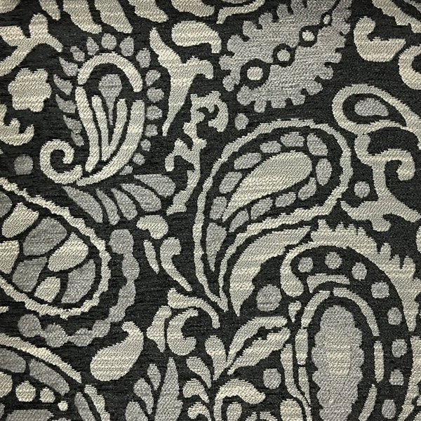 Sydney - Modern Paisley Textured Chenille Upholstery Fabric by the Yard - Available in 8 Colors - Zinc - Top Fabric - 1