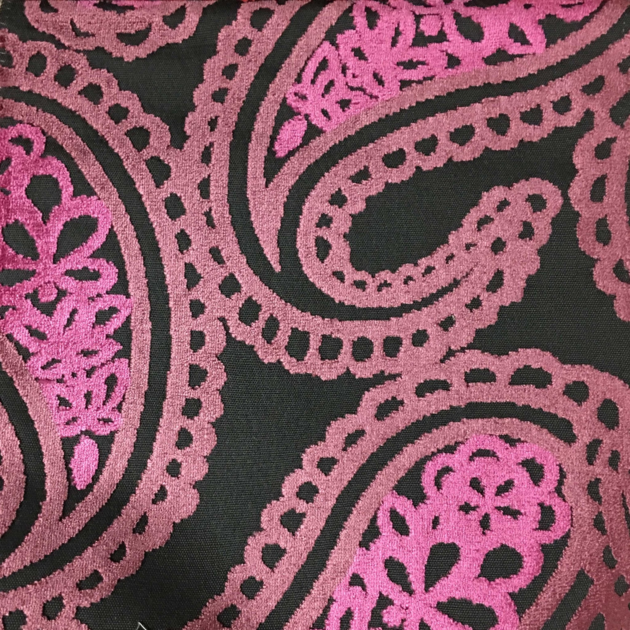 Victoria Bold Paisley Cut Velvet Upholstery Fabric By The Yard