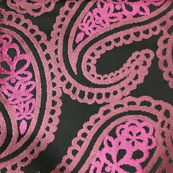 Victoria - Bold Paisley Cut Velvet Upholstery Fabric by the Yard - Available in 10 Colors - Zinc - Top Fabric - 1