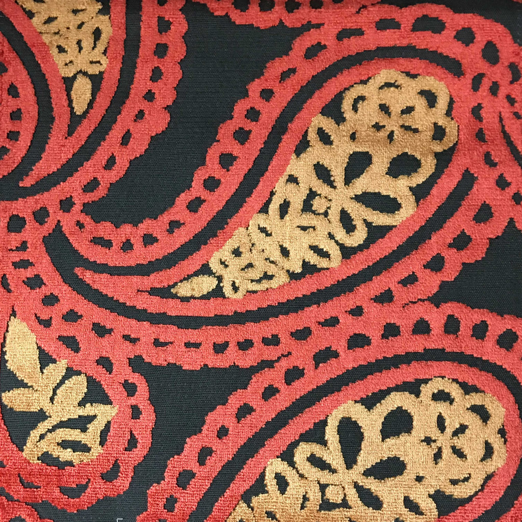 Victoria - Bold Paisley Cut Velvet Upholstery Fabric by the Yard - Available in 10 Colors - Atomic - Top Fabric - 8