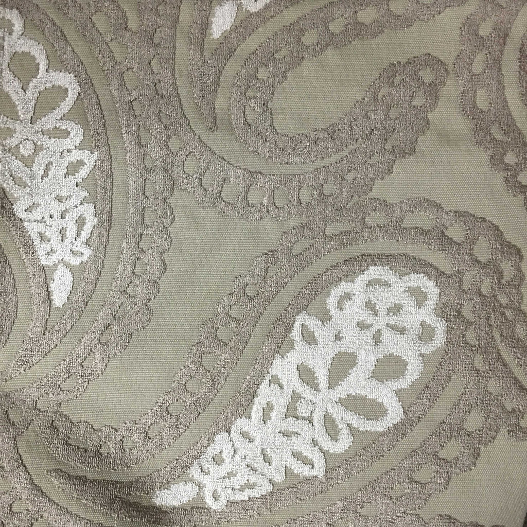 Victoria - Bold Paisley Cut Velvet Upholstery Fabric by the Yard - Available in 10 Colors - Beach - Top Fabric - 10