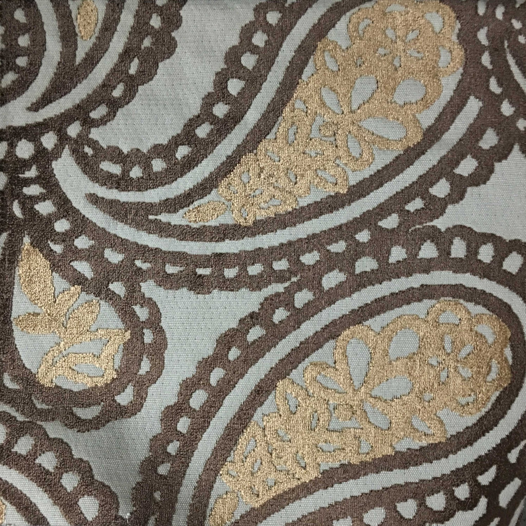Victoria - Bold Paisley Cut Velvet Upholstery Fabric by the Yard - Available in 10 Colors - Bittersweet - Top Fabric - 9