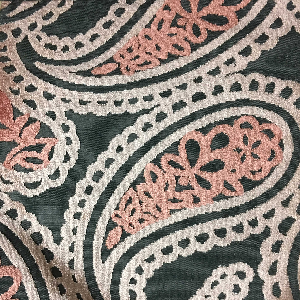 Victoria - Bold Paisley Cut Velvet Upholstery Fabric by the Yard - Available in 10 Colors - Blush - Top Fabric - 6