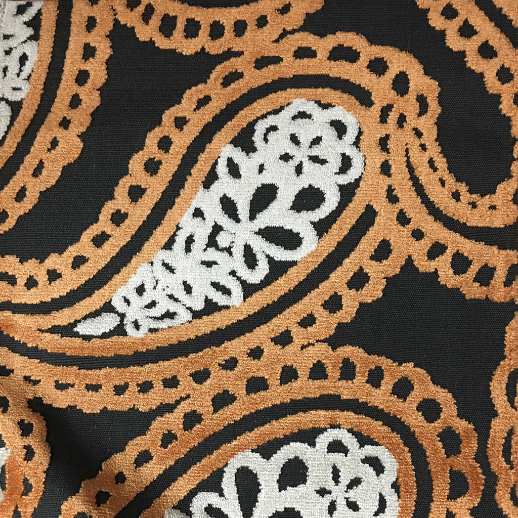 Victoria - Bold Paisley Cut Velvet Upholstery Fabric by the Yard - Available in 10 Colors - Carnival - Top Fabric - 7