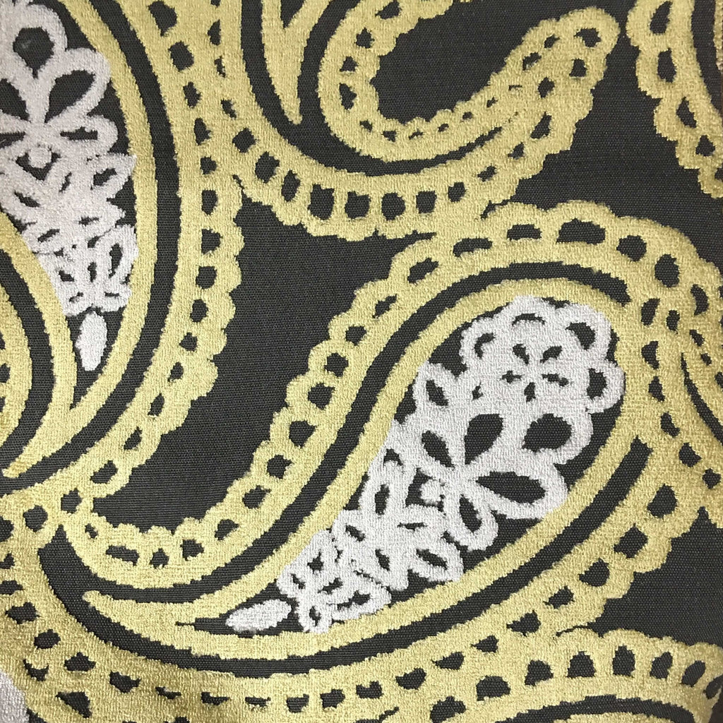 Victoria - Bold Paisley Cut Velvet Upholstery Fabric by the Yard - Available in 10 Colors - Golden - Top Fabric - 4