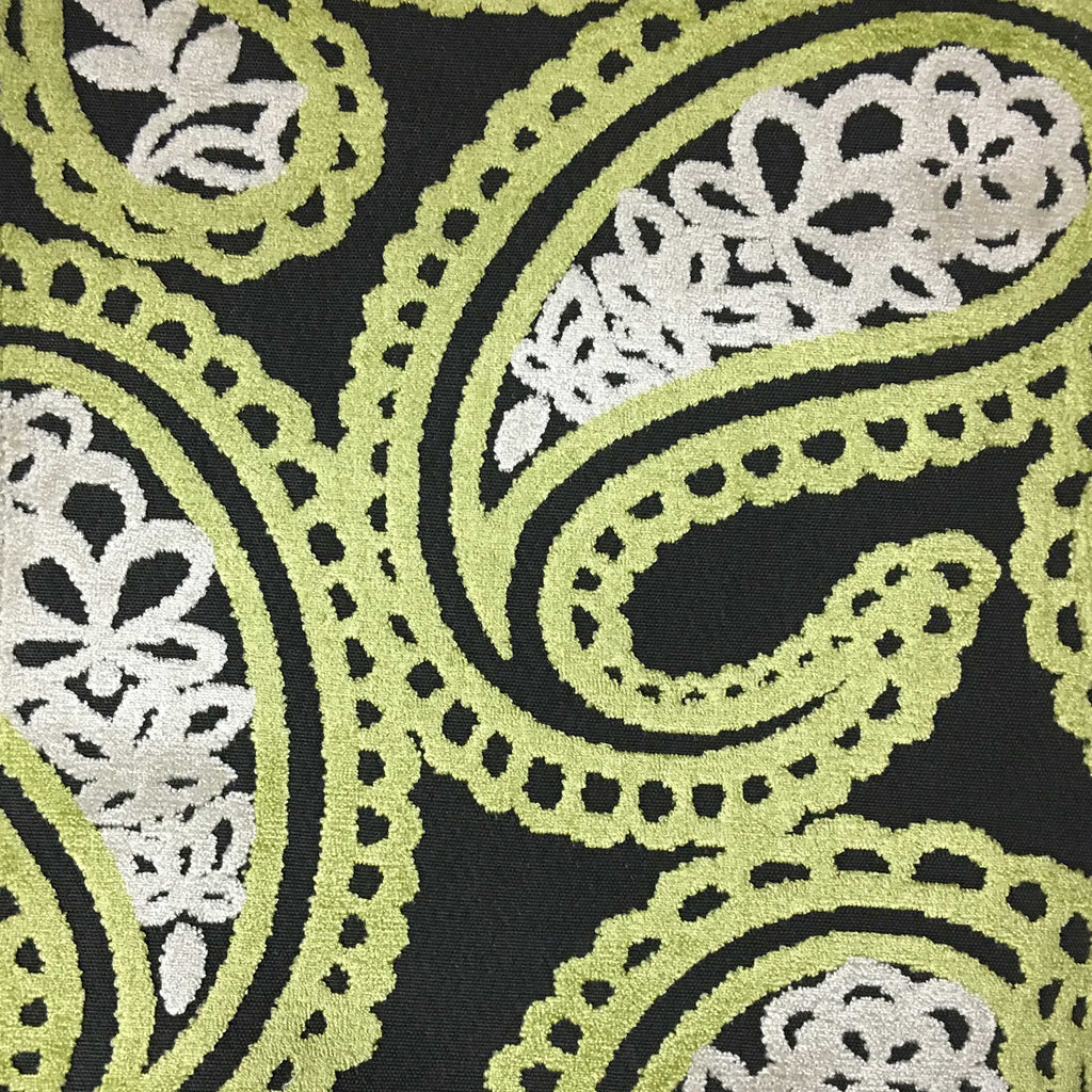 Victoria - Bold Paisley Cut Velvet Upholstery Fabric by the Yard - Available in 10 Colors - Grass - Top Fabric - 3
