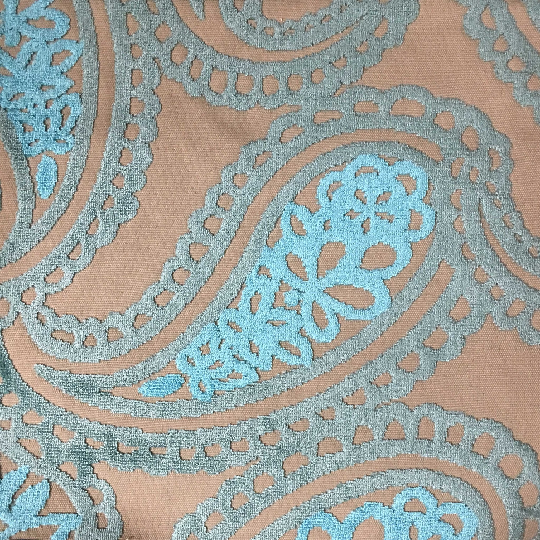 Victoria bold paisley cut velvet upholstery fabric by for Fabric by the yard