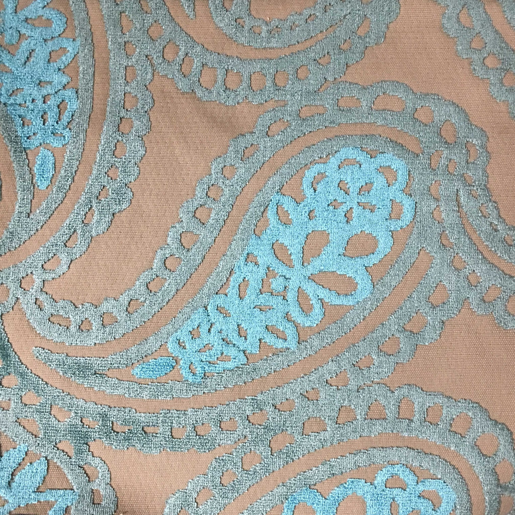 Victoria - Bold Paisley Cut Velvet Upholstery Fabric by the Yard - Available in 10 Colors - Peacock - Top Fabric - 5