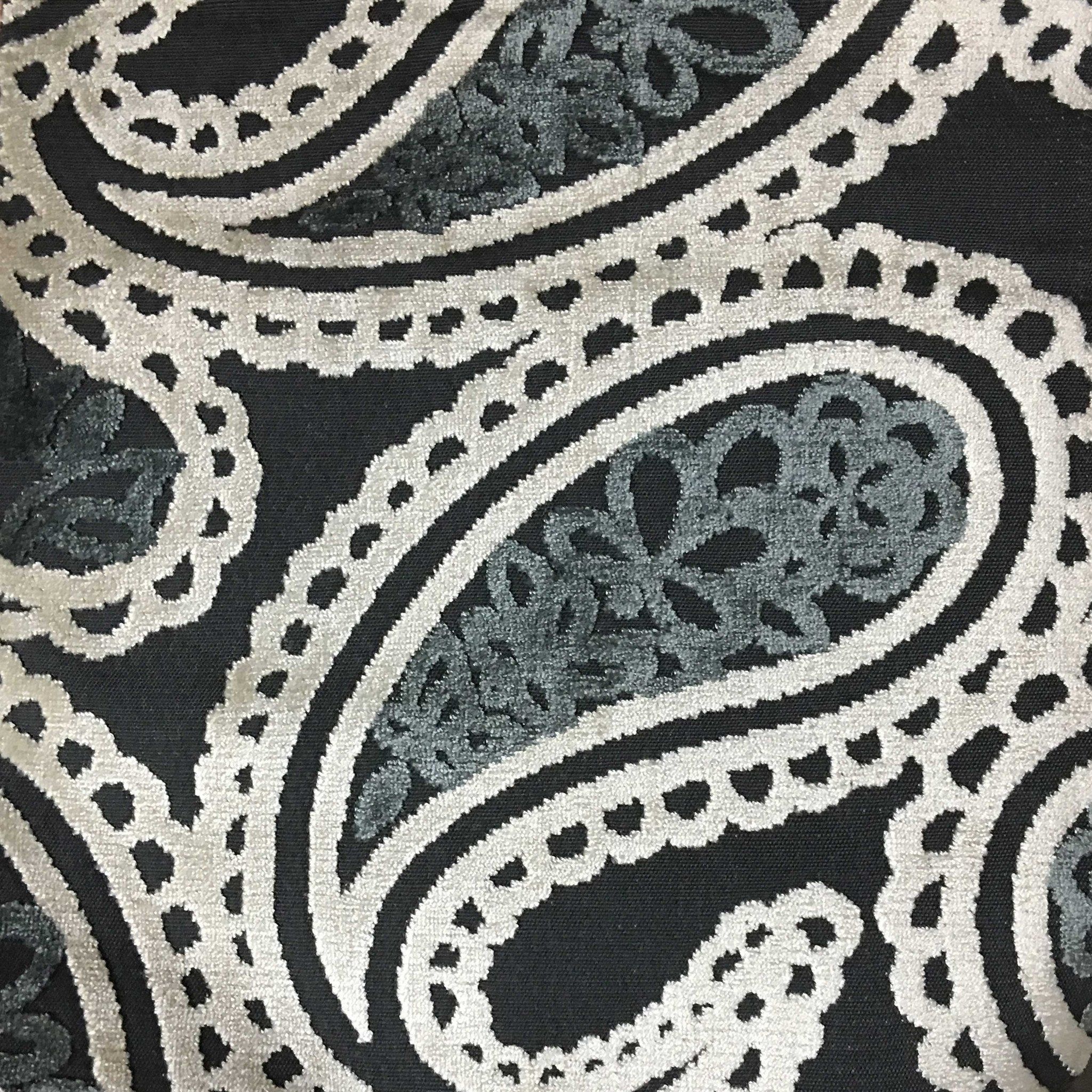Home Decor Fabrics By The Yard a woven tweed upholstery fabric in black white and grey this durable home decor Victoria Bold Paisley Cut Velvet Upholstery Fabric By The Yard Available In 10 Colors