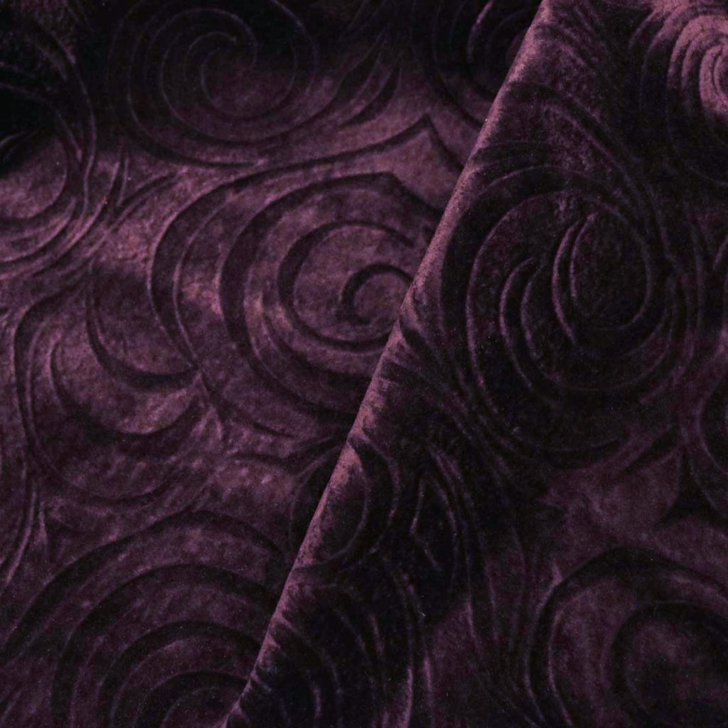 Westwood - A Modern Pattern on Purple Velvet with Backing - Upholstery Fabric