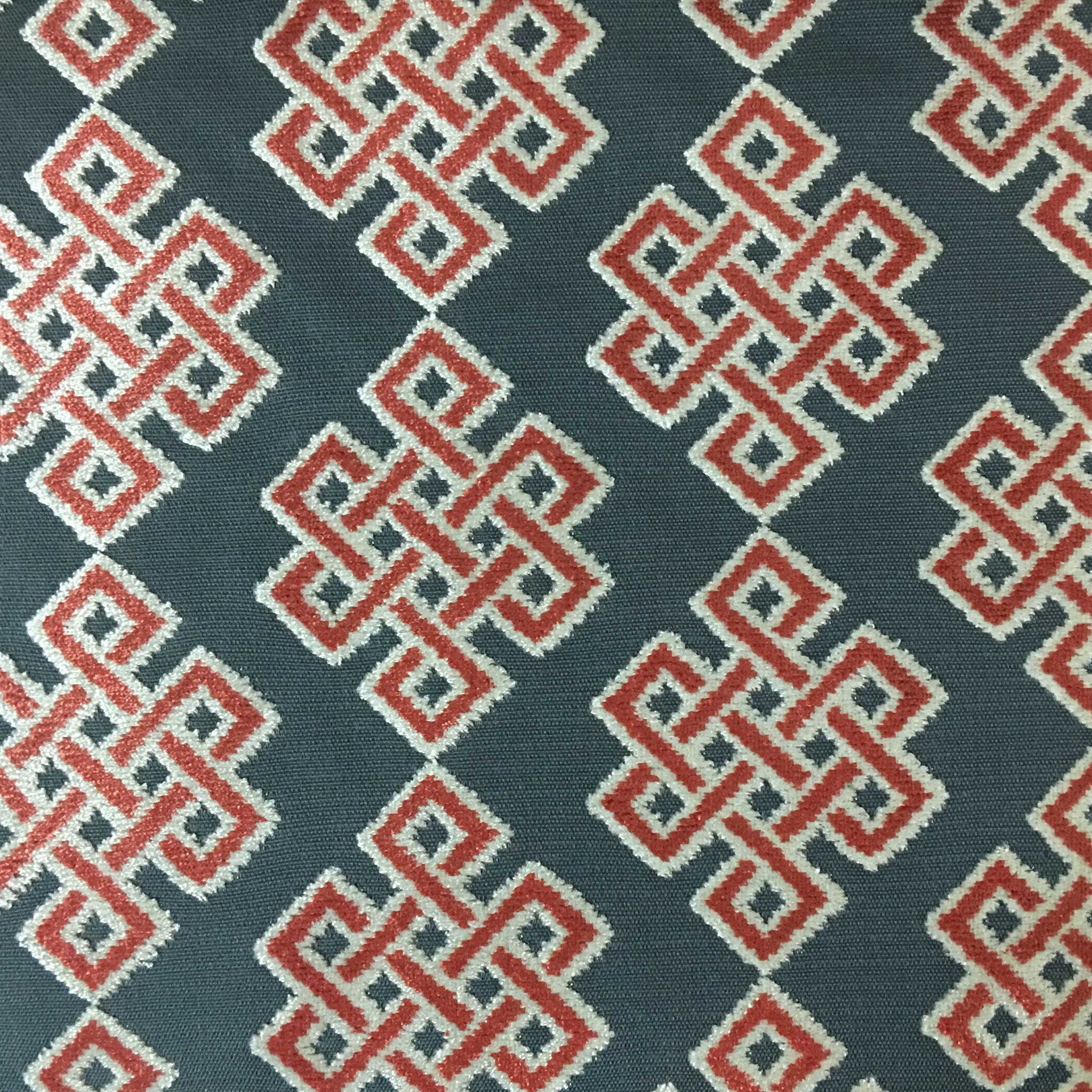 Wicklow Geometric Pattern Cut Velvet Upholstery Fabric By The Yard