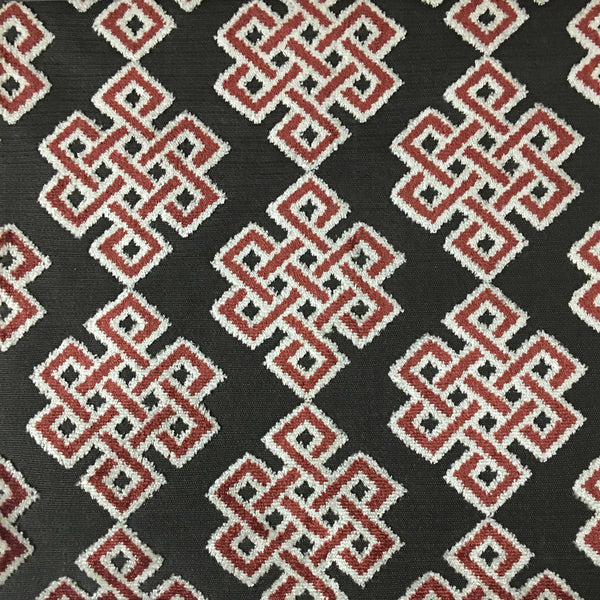 Wicklow - Geometric Cut Velvet Fabric Drapery & Upholstery Fabric by the Yard - Available in 12 Colors - Caviar - Top Fabric - 1