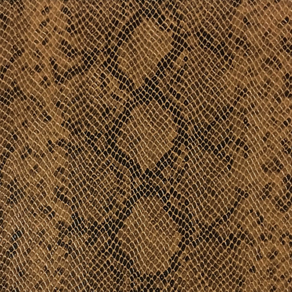 York - Snake Skin Pattern Embossed Vinyl Upholstery Fabric by the Yard - Available in 5 Colors - Caramel - Top Fabric - 5