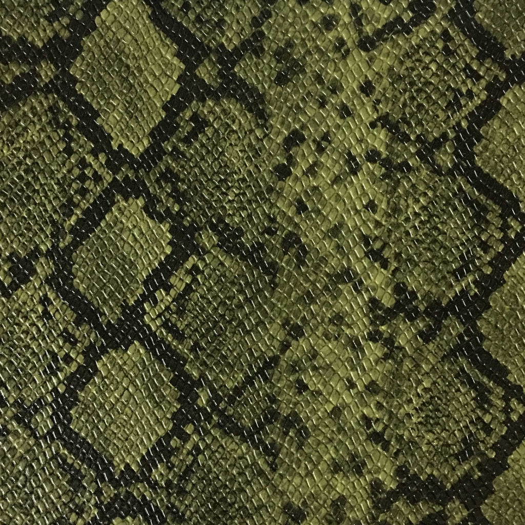 York - Snake Skin Pattern Embossed Vinyl Upholstery Fabric by the Yard - Available in 5 Colors - Grass - Top Fabric - 2