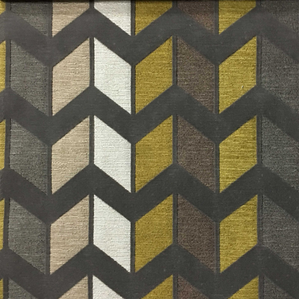 Ziba - Modern Texture Chevron Pattern Cotton Polyester Blend Upholstery Fabric by the Yard - Available in 8 Colors - Curry - Top Fabric - 4
