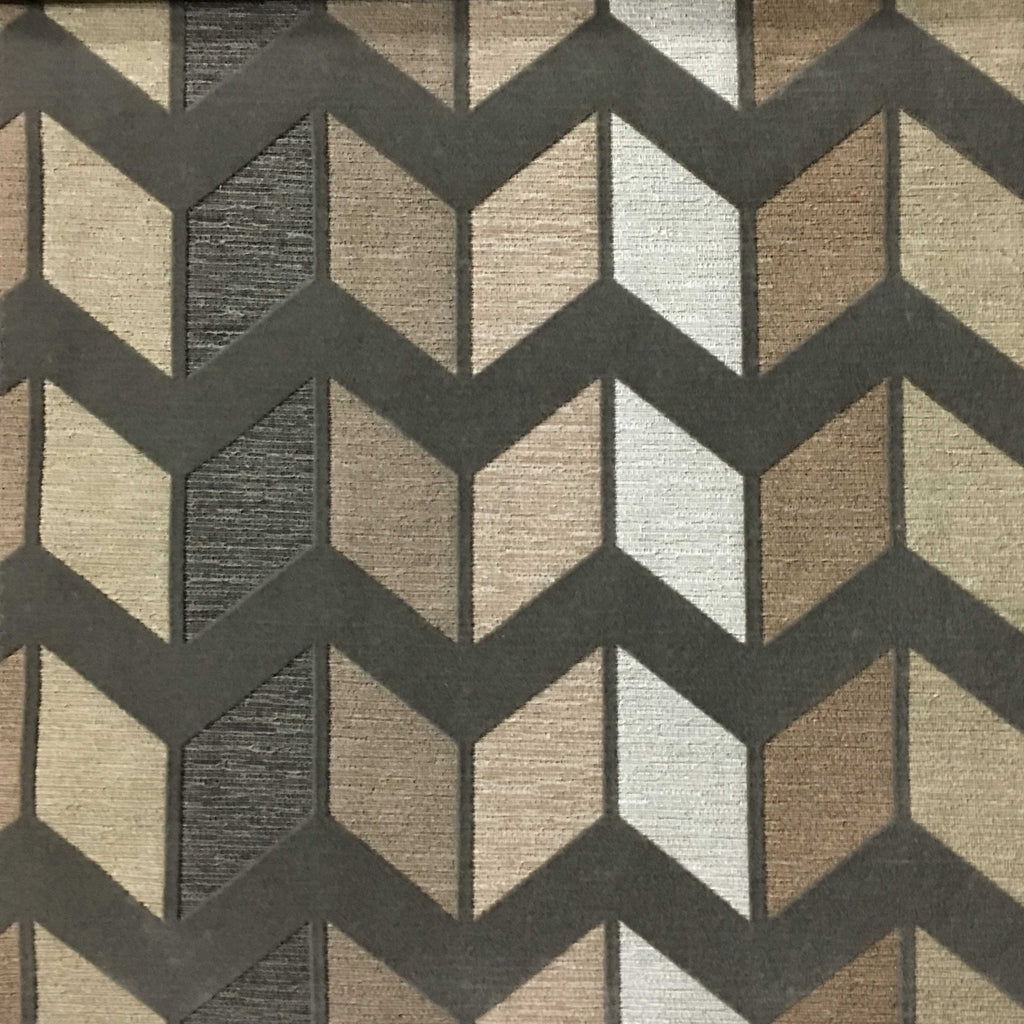 Ziba - Modern Texture Chevron Pattern Cotton Polyester Blend Upholstery Fabric by the Yard - Available in 8 Colors - Driftwood - Top Fabric - 8