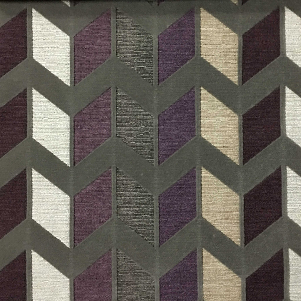 Ziba - Modern Texture Chevron Pattern Cotton Polyester Blend Upholstery Fabric by the Yard - Available in 8 Colors - Fig - Top Fabric - 7
