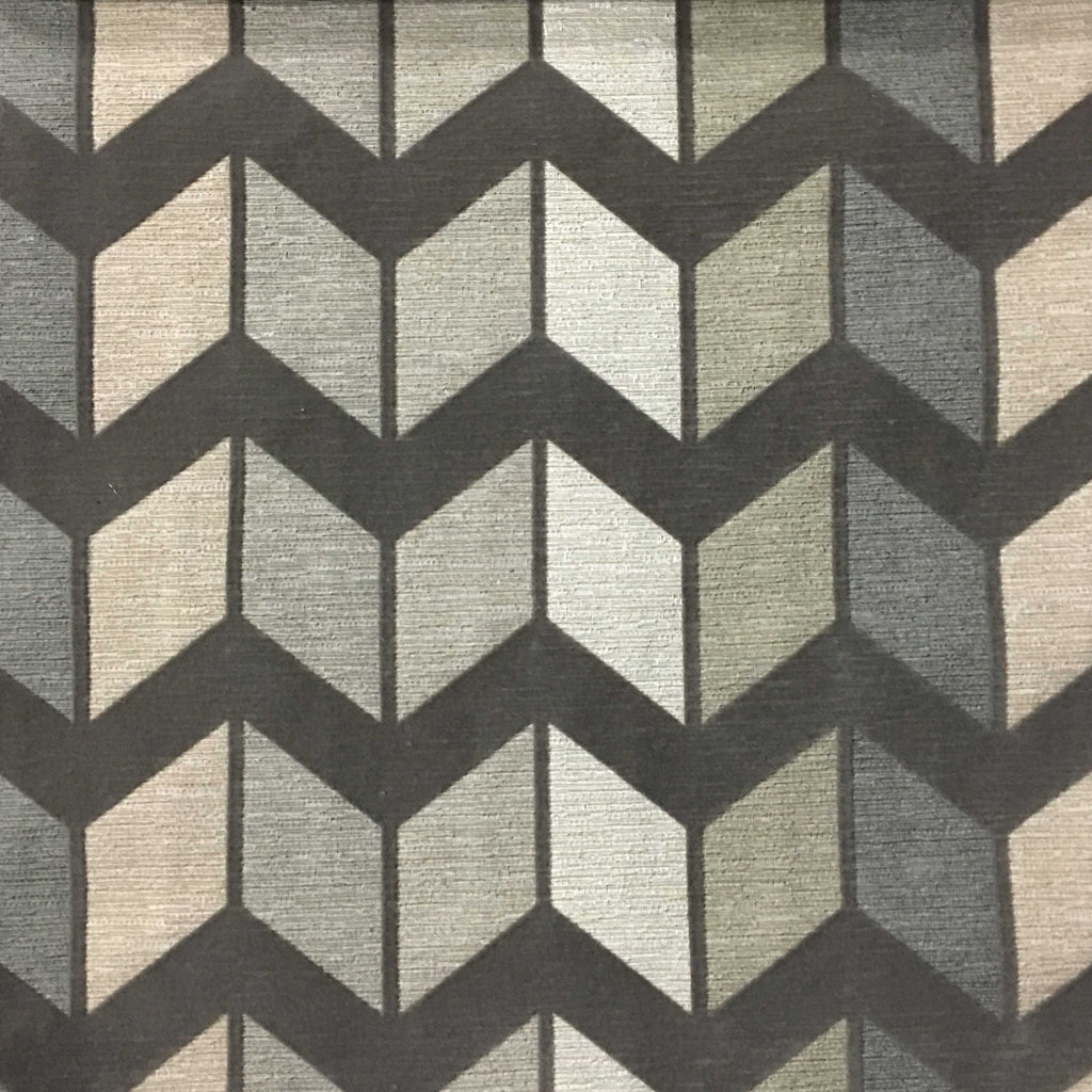 Ziba - Modern Texture Chevron Pattern Cotton Polyester Blend Upholstery Fabric by the Yard - Available in 8 Colors - Glacier - Top Fabric - 1