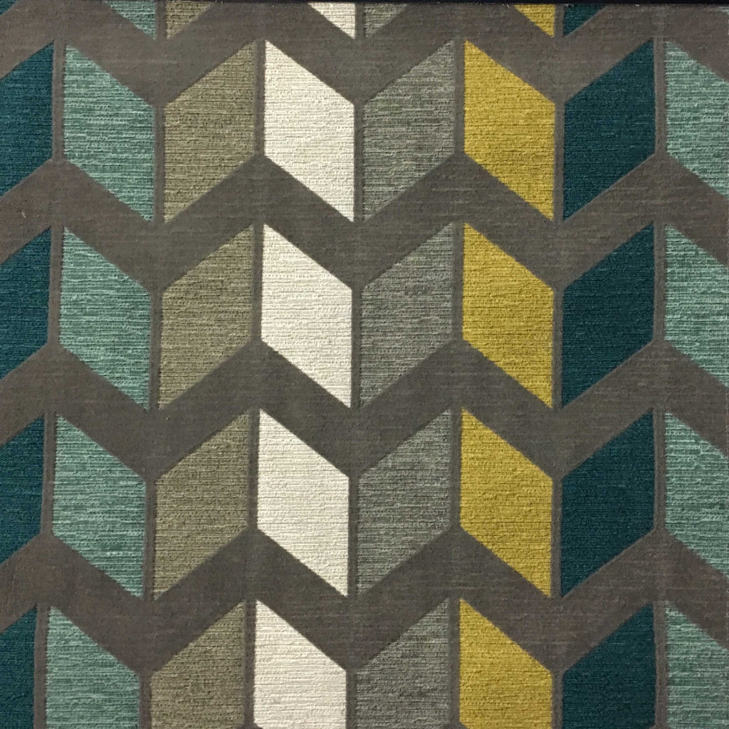 Ziba - Modern Texture Chevron Pattern Cotton Polyester Blend Upholstery Fabric by the Yard - Available in 8 Colors - Laguna - Top Fabric - 2