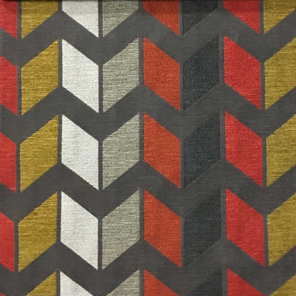Ziba - Modern Texture Chevron Pattern Cotton Polyester Blend Upholstery Fabric by the Yard - Available in 8 Colors - Sorbet - Top Fabric - 6